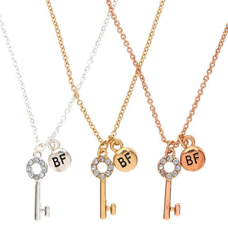 Vente qualité fiable couleur attrayante Lot de 3 colliers d'amitié à pendentif clé en métaux mixtes