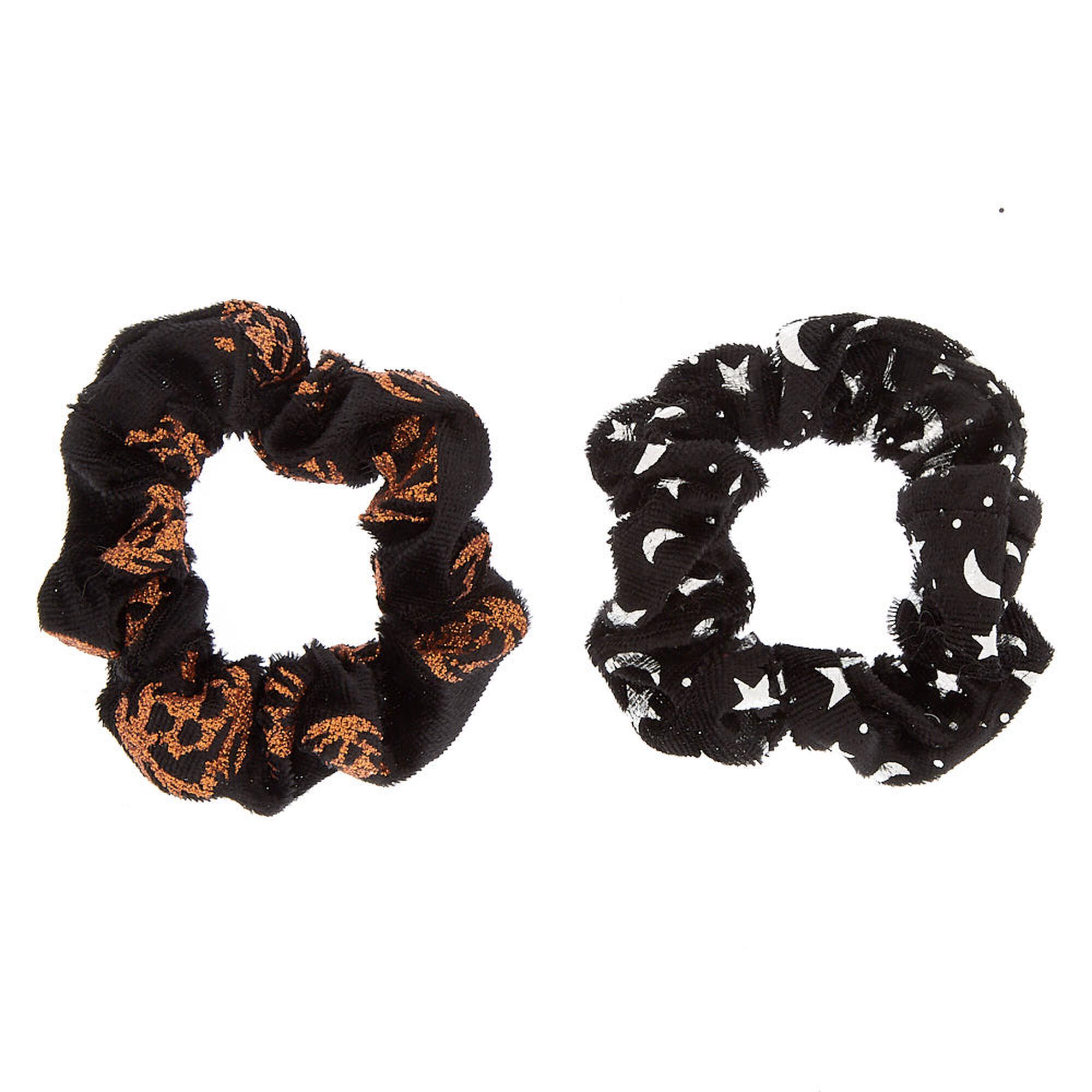 Set of 3 Cute Fall Colored Scrunchies PumpkinsSwirlsOrange and Black Plaid