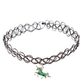 Mood Unicorn Pendant Tattoo Choker Necklace,