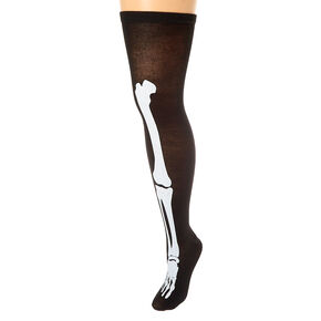 Glow In The Dark Over the Knee Skeleton Socks - Black,