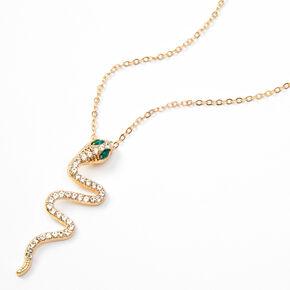 Collier avec grand pendentif serpent et strass couleur dorée,