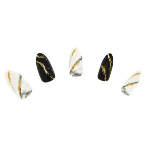Marble Foil Stiletto Faux Nail Set - Gold, 24 Pack,