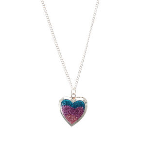 Glitter Heart Locket Pendant Necklace,
