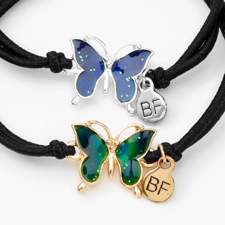 Bracelets en cordon d'humeur réglables papillon Best Friends - Lot de 2,