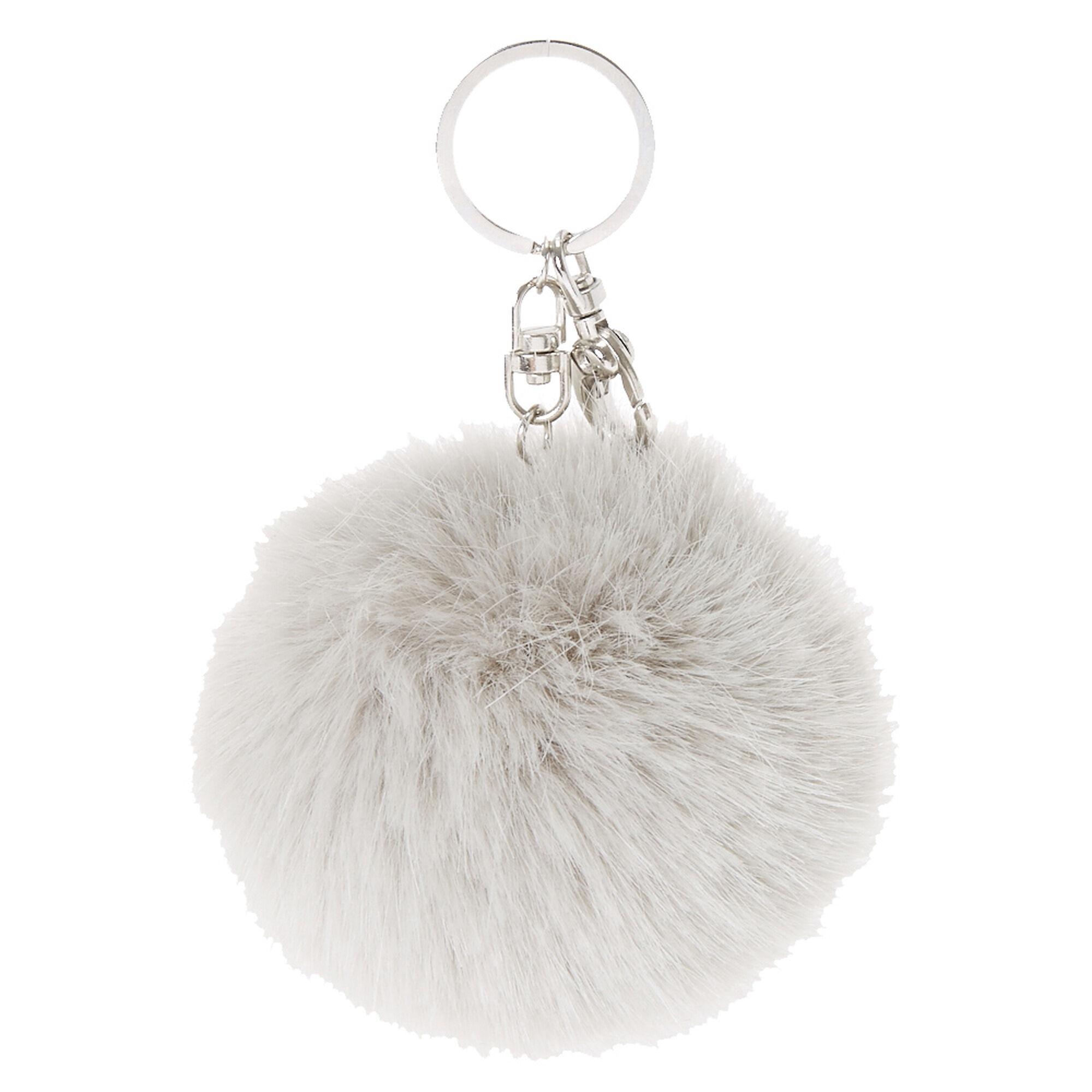 Grey Faux Fur Pom Pom Keychain  9392904ecadcb