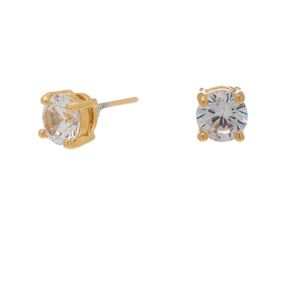 Claire's - 18kt plated cubic zirconia 6mm round stud earrings - 1