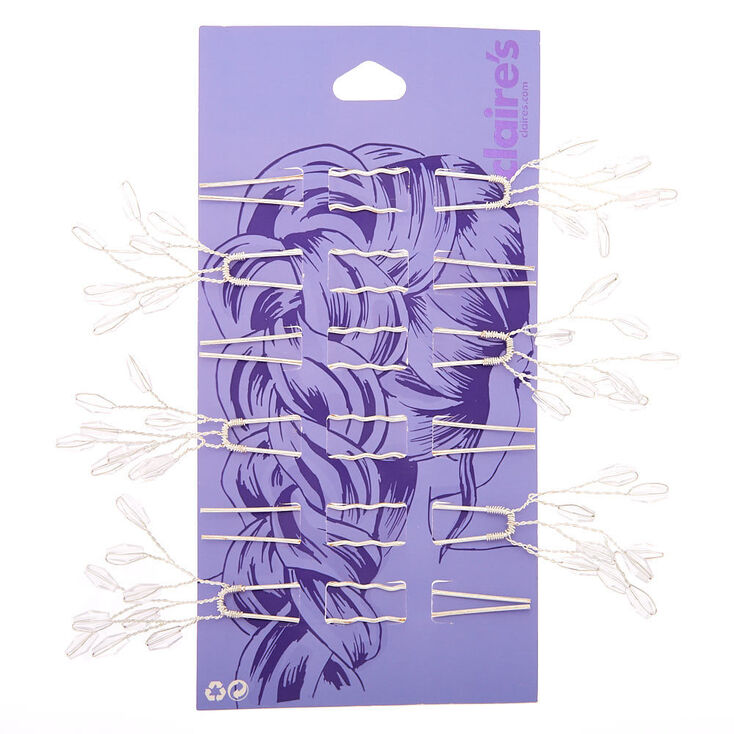 Silver Beaded Branch Hair Pins - 6 Pack,