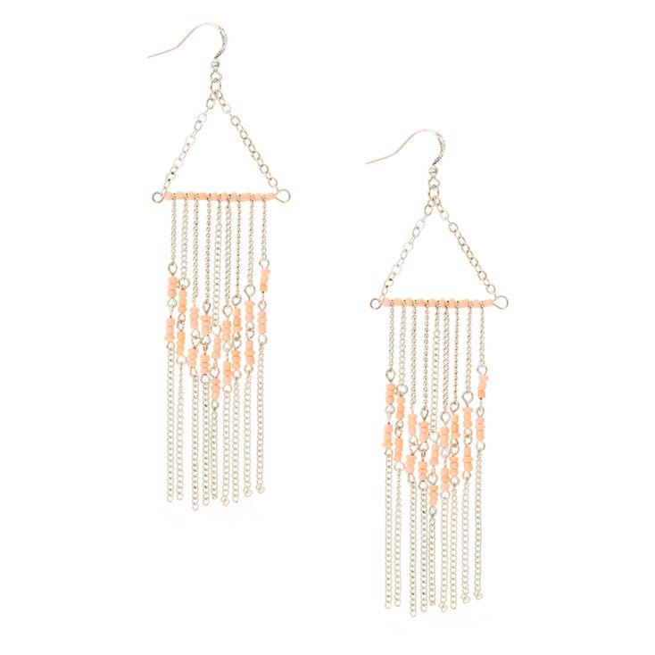 Silver Blush Pink Tassel Drop Earrings
