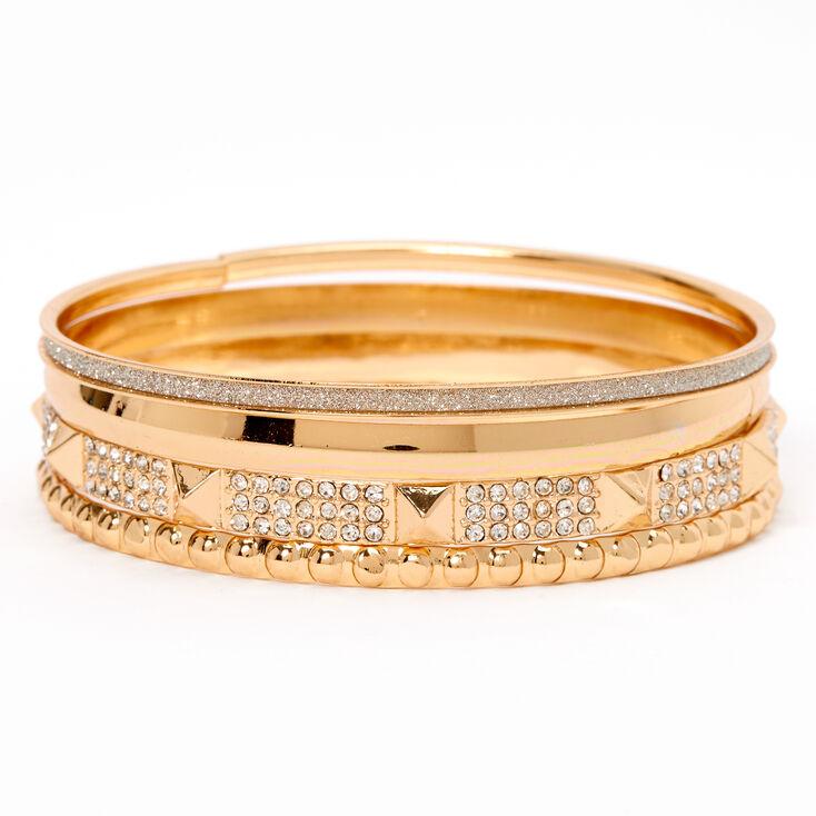 Gold Studded Rhinestone & Glitter Bangle Bracelets - 4 Pack,