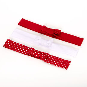 Claire's Club Mixed Pattern Bow Headwraps - Red, 3 Pack,
