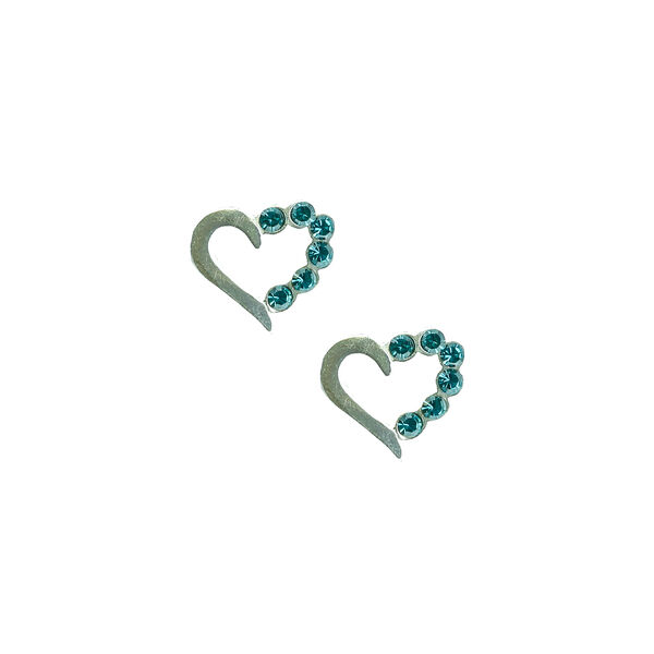 Claire's - sterling aqua heart stud earrings - 1