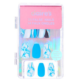 Mixed Neon Matte & Marble Coffin Faux Nail Set - Blue, 24 Pack,