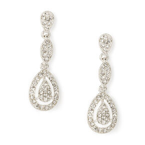 "Silver Rhinestone 1"" Teardrop Drop Earrings,"
