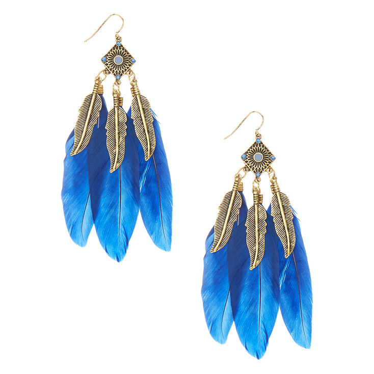 Pendantes à plumes bleues à effet vieilli,