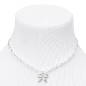 Claire's Club Silver Pearl Bow Embellished Jewelry Set - 3 Pack,