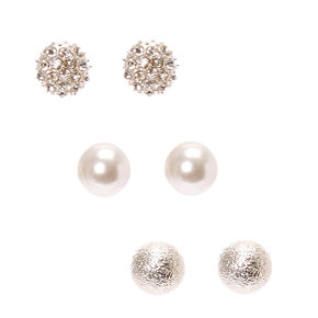 Classic Silver Tone Ball Stud Earrings,