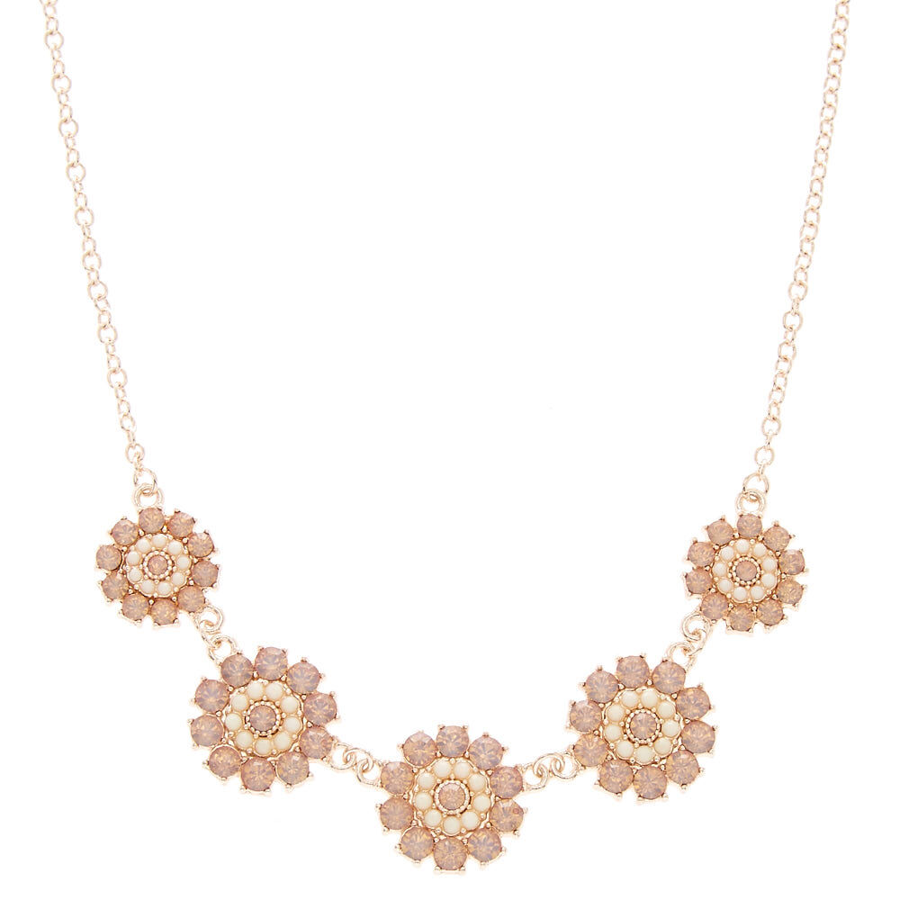Rose Gold Pink Faux Crystal Flower Necklace Claires