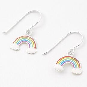 """Sterling Silver 0.5"""" Rainbow Drop Earrings,"""