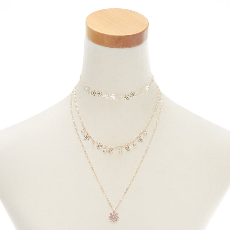 Rose Gold Flower Multi Strand Necklace Pink Claires Us