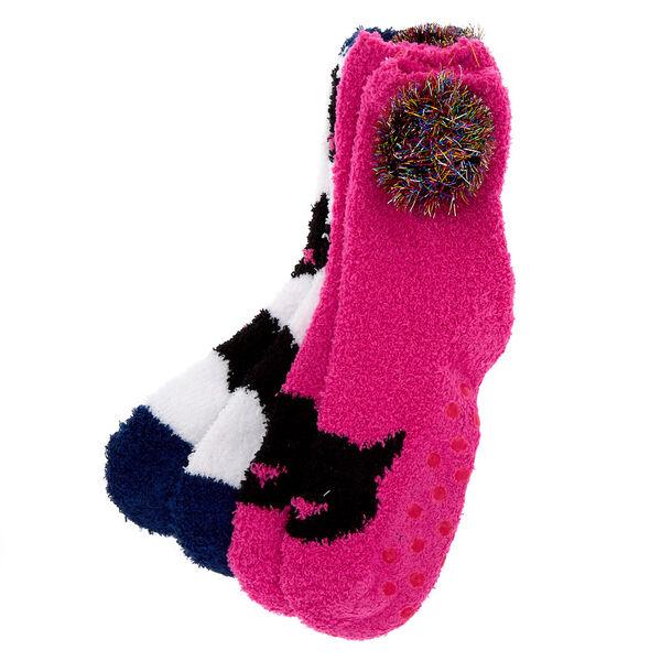 Claire's - fuzzy cat socks - 1
