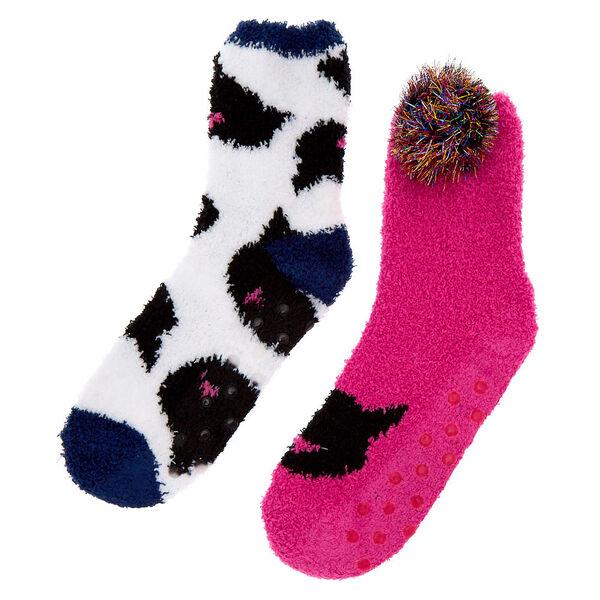 Claire's - fuzzy cat socks - 2