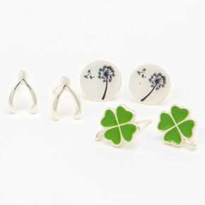 Silver Lucky Stud Earrings - 3 Pack,