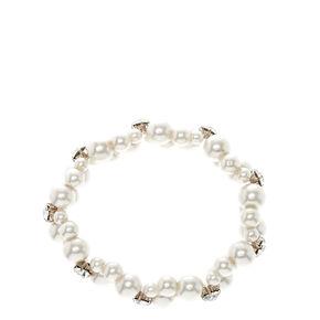 Silver Twisted Pearl Stretch Bracelet,