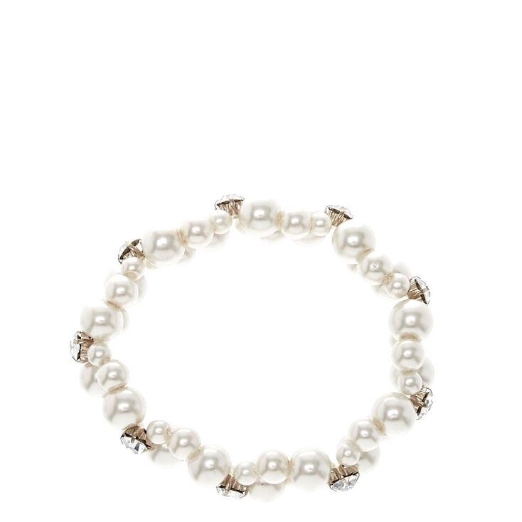 Bracelet double rang avec perles d'imitation blanches,