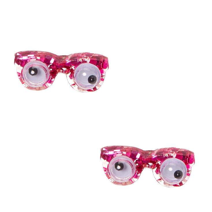 pink googly eye glasses stud earrings claire s us