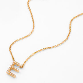 Gold Pearl Initial Chain Necklace - E,