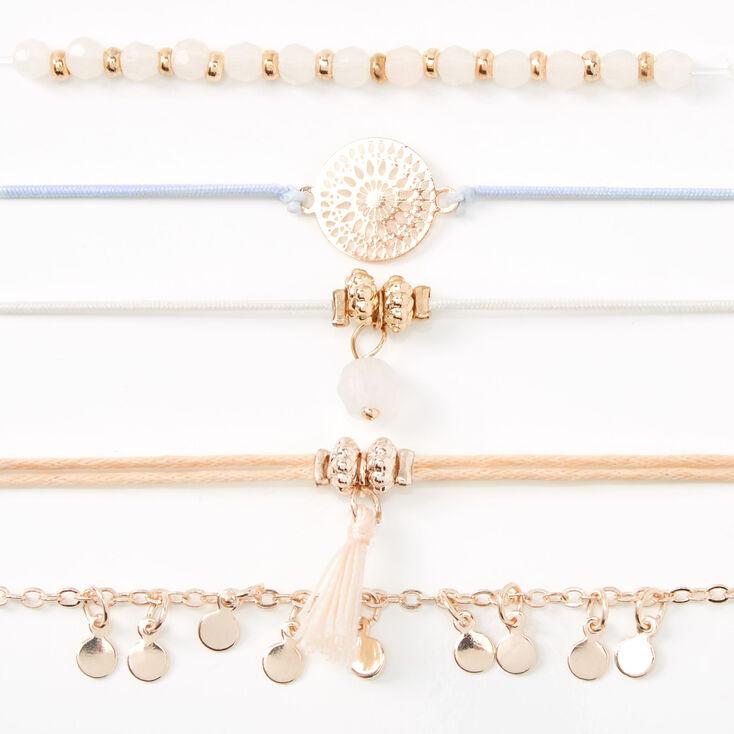Rose Gold Pastel Filigree Tassel Bracelets - 5 Pack,