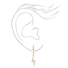 Gold 10MM Embellished Lightning Bolt Huggie Hoop Earrings,