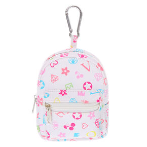 Signature Print Mini Backpack Keychain - White,