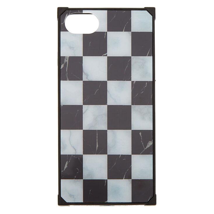 Coque de portable carrée effet marbré à carreaux - Compatible avec iPhone® 6/7/8/SE,