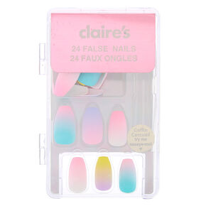 Pastel Ombre Coffin Faux Nail Set - 24 Pack,