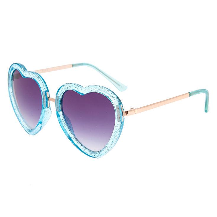 3912f7295e Glitter Turquoise Heart-Shaped Sunglasses