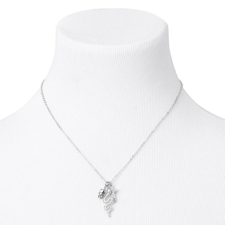 Silver Skull, Snake, & Cross Pendant Necklace,