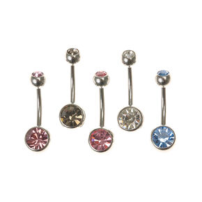 Silver Pastel Stone Belly Rings - 5 Pack,