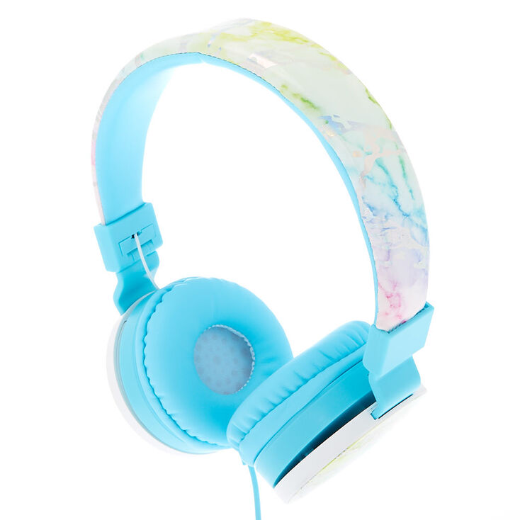 d8b004cc95090 Rainbow Marble Headphones - Turquoise