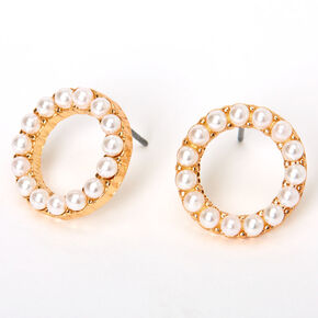 Gold Halo Pearl Stud Earrings - Ivory,