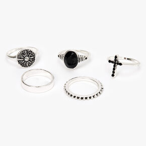 Silver Cross Stone Rings - Black, 5 Pack,