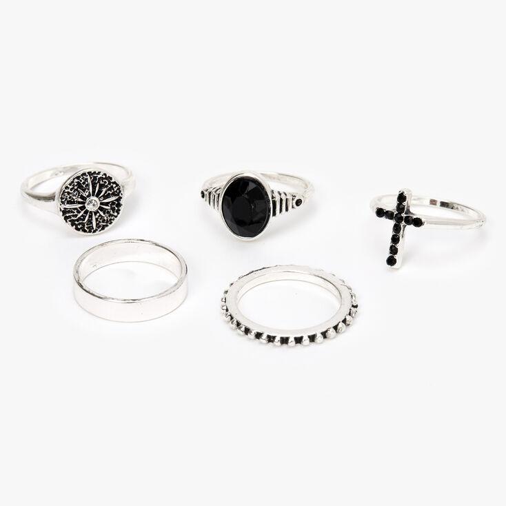 Silver Cross Stone Rings - Black, 5 Pack,
