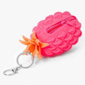 Porte-clés porte-monnaie silicone ananas - Fuchsia,