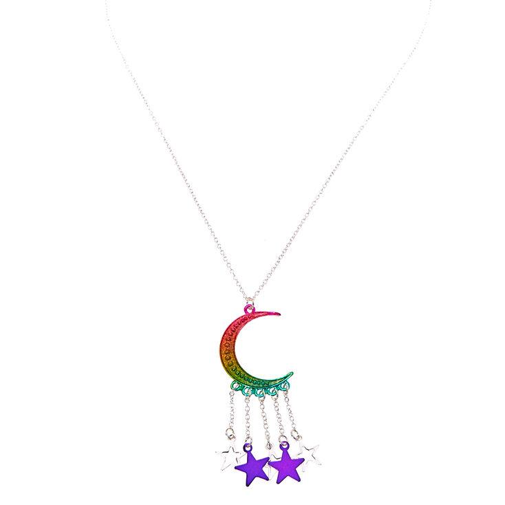 Pendentif croissant de lune et étoiles métallisées arc-en-ciel,