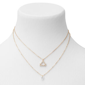 Gold Cubic Zirconia Zodiac Multi Strand Necklace - Libra,