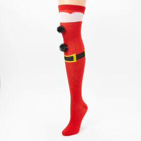Santa Pom Pom Over the Knee Socks - Red,