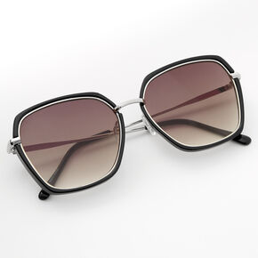 Black Oversized Geometric Sunglasses,
