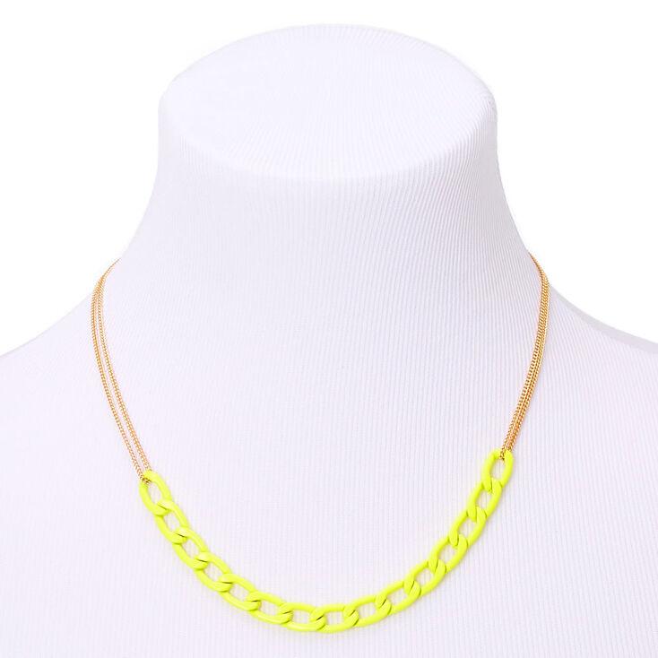 Collier de caractère maillon de chaîne couleur doré - Jaune,