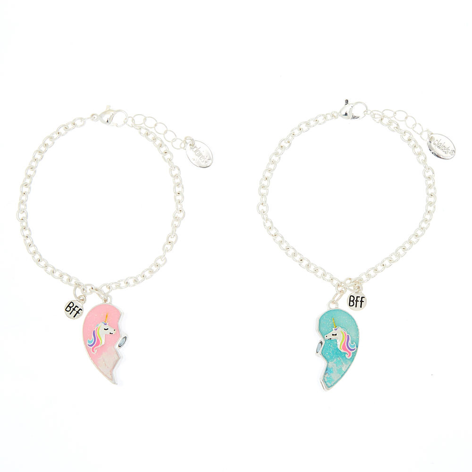 Best Friends Unicorn Heart Charm Bracelets 2 Pack