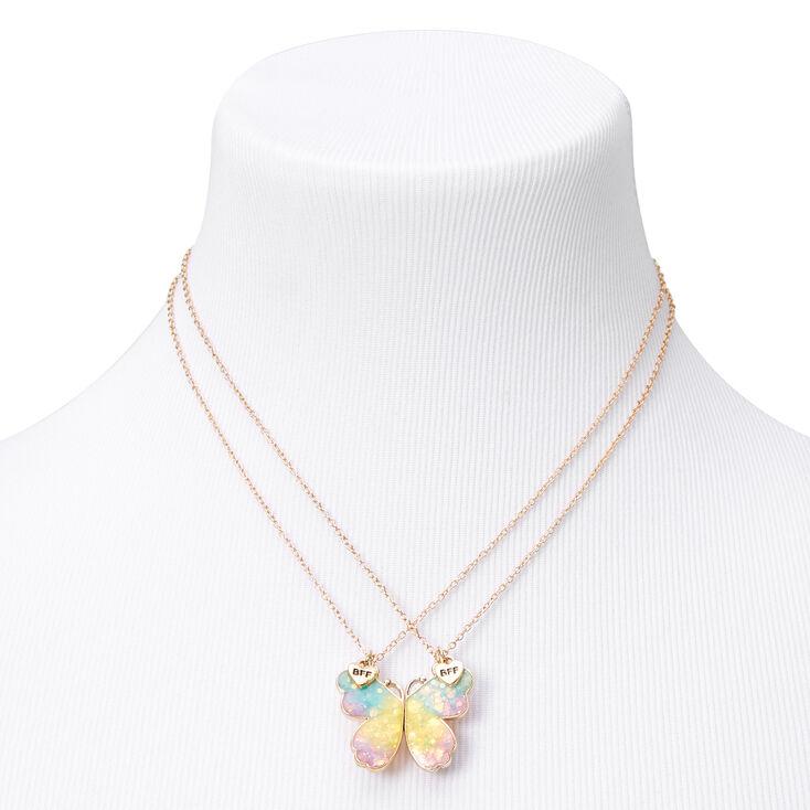 Best Friends Pastel Butterfly Pendant Necklaces - 2 Pack,